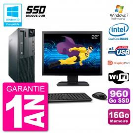 "PC Lenovo M82 SFF Ecran 22"" G2020 RAM 16Go SSD 960Go Graveur DVD Wifi W7"