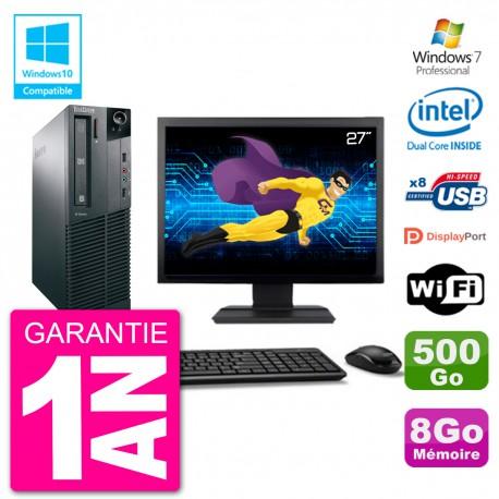 """PC Lenovo M82 SFF Ecran 27"""" G2020 RAM 8Go Disque 500Go Graveur DVD Wifi W7"""