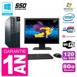 "PC Lenovo M82 SFF Ecran 27"" G2020 RAM 8Go SSD 120Go Graveur DVD Wifi W7"