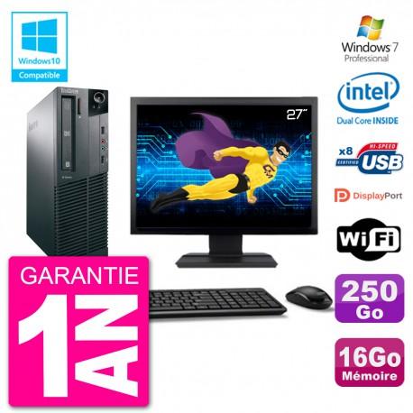 """PC Lenovo M82 SFF Ecran 27"""" G2020 RAM 16Go Disque 250Go Graveur DVD Wifi W7"""