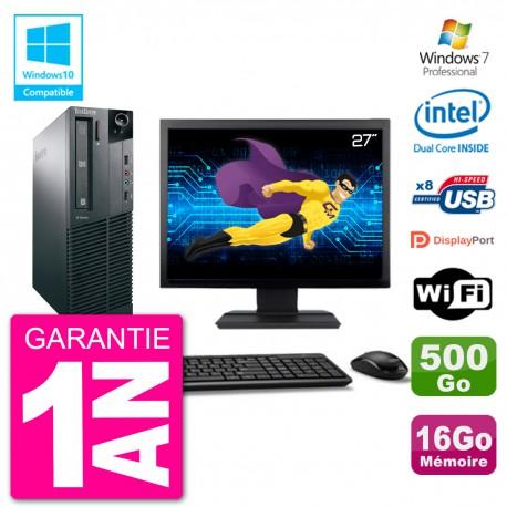 """PC Lenovo M82 SFF Ecran 27"""" G2020 RAM 16Go Disque 500Go Graveur DVD Wifi W7"""