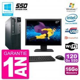 "PC Lenovo M82 SFF Ecran 27"" G2020 RAM 16Go SSD 120Go Graveur DVD Wifi W7"