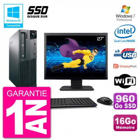 "PC Lenovo M82 SFF Ecran 27"" G2020 RAM 16Go SSD 960Go Graveur DVD Wifi W7"