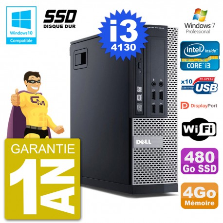 PC Dell 9020 SFF Intel i3-4130 RAM 4Go SSD 480Go Graveur DVD Wifi W7