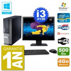 """PC Dell 9020 SFF Ecran 19"""" Intel i3-4130 RAM 4Go Disque 500Go Graveur DVD Wifi W7"""