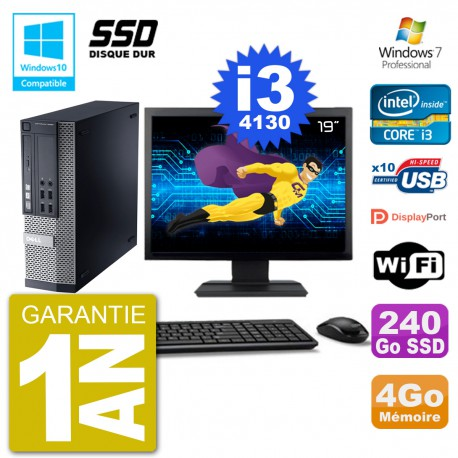 """PC Dell 9020 SFF Ecran 19"""" Intel i3-4130 RAM 4Go SSD 240Go Graveur DVD Wifi W7"""