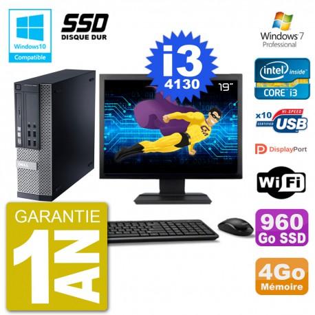 """PC Dell 9020 SFF Ecran 19"""" Intel i3-4130 RAM 4Go SSD 960Go Graveur DVD Wifi W7"""
