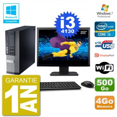 """PC Dell 9020 SFF Ecran 22"""" Intel i3-4130 RAM 4Go Disque 500Go Graveur DVD Wifi W7"""