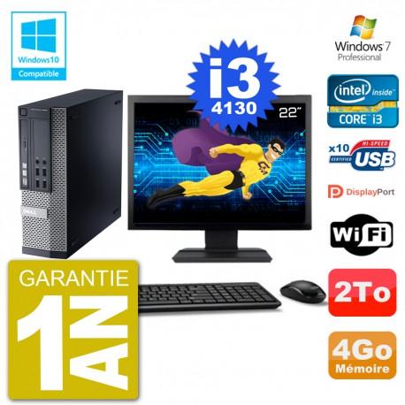 """PC Dell 9020 SFF Ecran 22"""" Intel i3-4130 RAM 4Go Disque 2To Graveur DVD Wifi W7"""