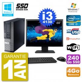 """PC Dell 9020 SFF Ecran 22"""" Intel i3-4130 RAM 4Go SSD 240Go Graveur DVD Wifi W7"""