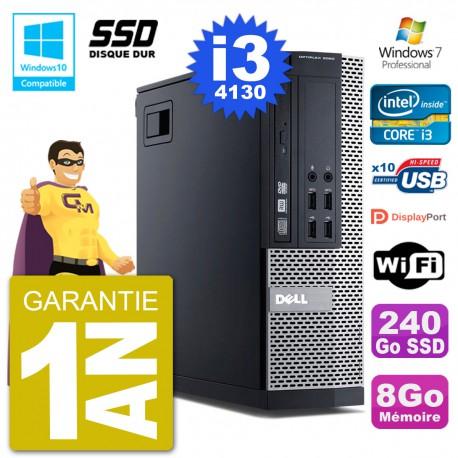 PC Dell 9020 SFF Intel i3-4130 RAM 8Go SSD 240Go Graveur DVD Wifi W7