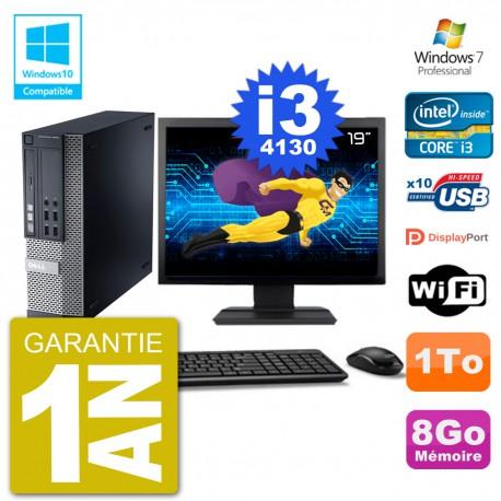 """PC Dell 9020 SFF Ecran 19"""" Intel i3-4130 RAM 8Go Disque 1To Graveur DVD Wifi W7"""
