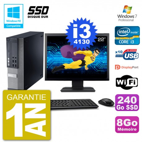 """PC Dell 9020 SFF Ecran 22"""" Intel i3-4130 RAM 8Go SSD 240Go Graveur DVD Wifi W7"""