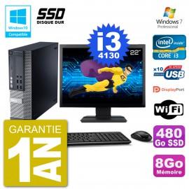 """PC Dell 9020 SFF Ecran 22"""" Intel i3-4130 RAM 8Go SSD 480Go Graveur DVD Wifi W7"""
