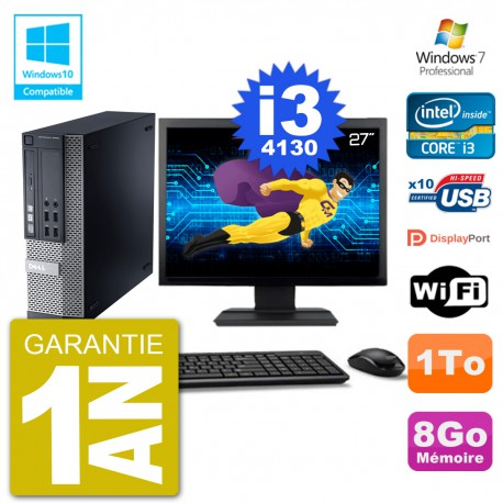 "PC Dell 9020 SFF Ecran 27"" Intel i3-4130 RAM 8Go Disque 1To Graveur DVD Wifi W7"