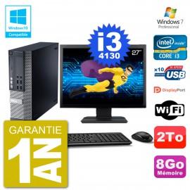 """PC Dell 9020 SFF Ecran 27"""" Intel i3-4130 RAM 8Go Disque 2To Graveur DVD Wifi W7"""