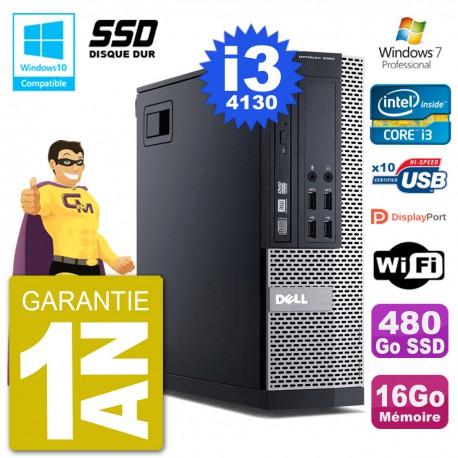 PC Dell 9020 SFF Intel i3-4130 RAM 16Go SSD 480Go Graveur DVD Wifi W7