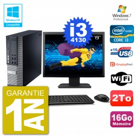 """PC Dell 9020 SFF Ecran 19"""" Intel i3-4130 RAM 16Go Disque 2To Graveur DVD Wifi W7"""