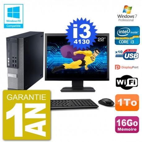 """PC Dell 9020 SFF Ecran 22"""" Intel i3-4130 RAM 16Go Disque 1To Graveur DVD Wifi W7"""