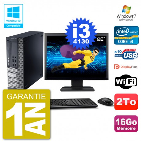 "PC Dell 9020 SFF Ecran 22"" Intel i3-4130 RAM 16Go Disque 2To Graveur DVD Wifi W7"