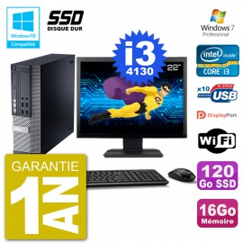 """PC Dell 9020 SFF Ecran 22"""" Intel i3-4130 RAM 16Go SSD 120Go Graveur DVD Wifi W7"""