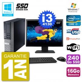 """PC Dell 9020 SFF Ecran 22"""" Intel i3-4130 RAM 16Go SSD 240Go Graveur DVD Wifi W7"""
