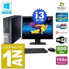 """PC Dell 9020 SFF Ecran 27"""" Intel i3-4130 RAM 16Go Disque 500Go Graveur DVD Wifi W7"""