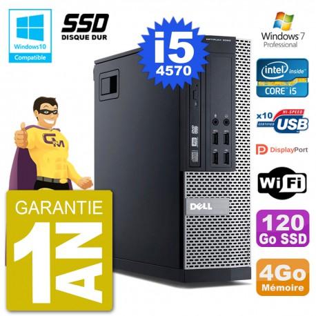 PC Dell 9020 SFF Intel i5-4570 RAM 4Go SSD 120Go Graveur DVD Wifi W7