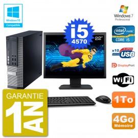 """PC Dell 9020 SFF Ecran 22"""" Intel i5-4570 RAM 4Go Disque 1To Graveur DVD Wifi W7"""