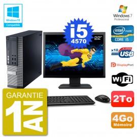 """PC Dell 9020 SFF Ecran 22"""" Intel i5-4570 RAM 4Go Disque 2To Graveur DVD Wifi W7"""