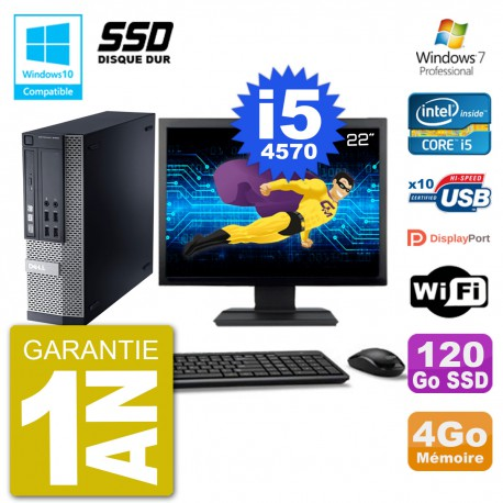 """PC Dell 9020 SFF Ecran 22"""" Intel i5-4570 RAM 4Go SSD 120Go Graveur DVD Wifi W7"""