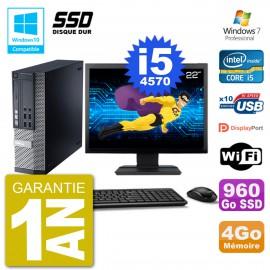"""PC Dell 9020 SFF Ecran 22"""" Intel i5-4570 RAM 4Go SSD 960Go Graveur DVD Wifi W7"""