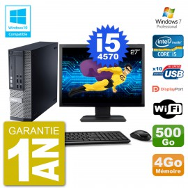 """PC Dell 9020 SFF Ecran 27"""" Intel i5-4570 RAM 4Go Disque 500Go Graveur DVD Wifi W7"""