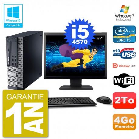 """PC Dell 9020 SFF Ecran 27"""" Intel i5-4570 RAM 4Go Disque 2To Graveur DVD Wifi W7"""