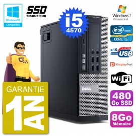 PC Dell 9020 SFF Intel i5-4570 RAM 8Go SSD 480Go Graveur DVD Wifi W7