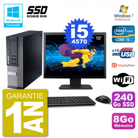 """PC Dell 9020 SFF Ecran 19"""" Intel i5-4570 RAM 8Go SSD 240Go Graveur DVD Wifi W7"""