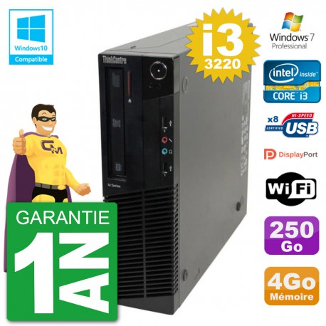PC Lenovo ThinkCentre M82 SFF i3-3220 RAM 4Go Disque 250Go Graveur DVD Wifi W7