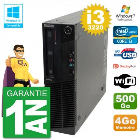 PC Lenovo ThinkCentre M82 SFF i3-3220 RAM 4Go Disque 500Go Graveur DVD Wifi W7