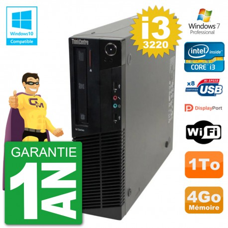 PC Lenovo ThinkCentre M82 SFF i3-3220 RAM 4Go Disque Dur 1To Graveur DVD Wifi W7