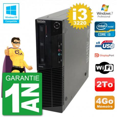 PC Lenovo ThinkCentre M82 SFF i3-3220 RAM 4Go Disque Dur 2To Graveur DVD Wifi W7