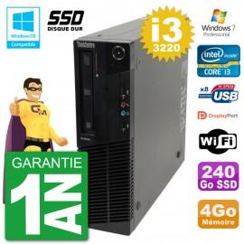 PC Lenovo ThinkCentre M82 SFF i3-3220 RAM 4Go SSD 240Go Graveur DVD Wifi W7