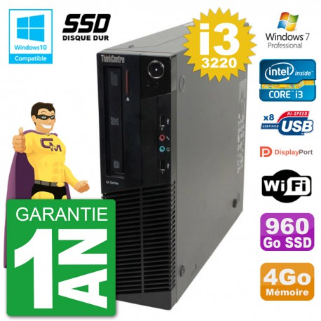 PC Lenovo ThinkCentre M82 SFF i3-3220 RAM 4Go SSD 960Go Graveur DVD Wifi W7