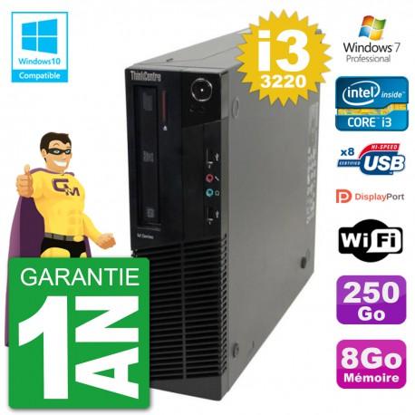 PC Lenovo ThinkCentre M82 SFF i3-3220 RAM 8Go Disque 250Go Graveur DVD Wifi W7
