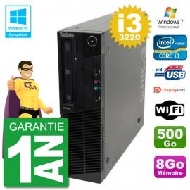 PC Lenovo ThinkCentre M82 SFF i3-3220 RAM 8Go Disque 500Go Graveur DVD Wifi W7