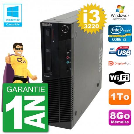 PC Lenovo ThinkCentre M82 SFF i3-3220 RAM 8Go Disque Dur 1To Graveur DVD Wifi W7