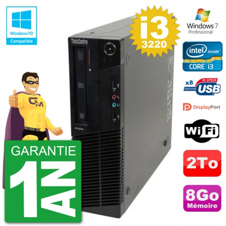 PC Lenovo ThinkCentre M82 SFF i3-3220 RAM 8Go Disque Dur 2To Graveur DVD Wifi W7