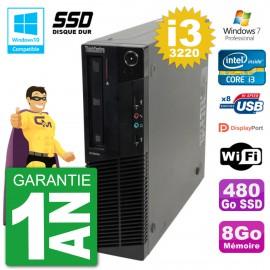 PC Lenovo ThinkCentre M82 SFF i3-3220 RAM 8Go SSD 480Go Graveur DVD Wifi W7