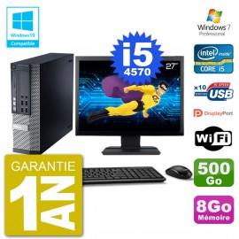 """PC Dell 9020 SFF Ecran 27"""" Intel i5-4570 RAM 8Go Disque 500Go Graveur DVD Wifi W7"""
