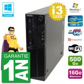 PC Lenovo ThinkCentre M82 SFF i3-3220 RAM 16Go Disque 500Go Graveur DVD Wifi W7