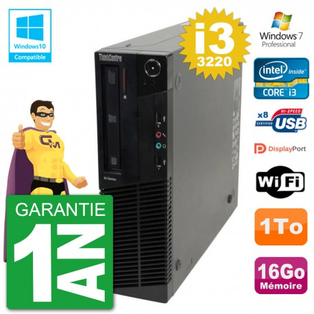 PC Lenovo ThinkCentre M82 SFF i3-3220 RAM 16Go Disque 1To Graveur DVD Wifi W7